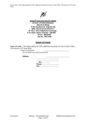 details.... - Chennai Telephones - BSNL