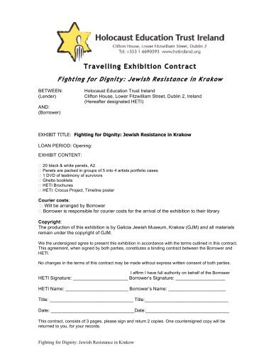 Travelling Exhibition Contract - Holocaust Education Trust of Ireland