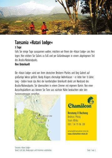 Tansania »hatari Lodge«