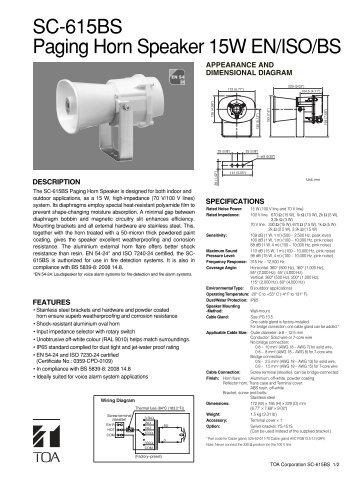 SC-615BS Paging Horn Speaker 15W EN/ISO/BS - Eltek
