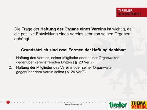 In Zusammenarbeit mit - Tiroler Volkspartei