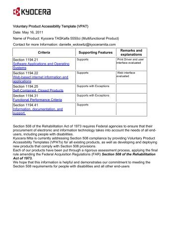 Voluntary Product Accessibility Template (VPAT) Date: February ...