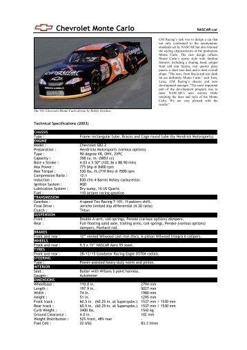 02 Chevrolet Monte Carlo - Motorsports Almanac