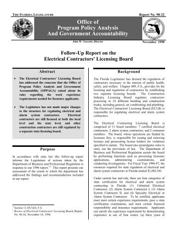 Electrical Contractor's Licensing Board - oppaga