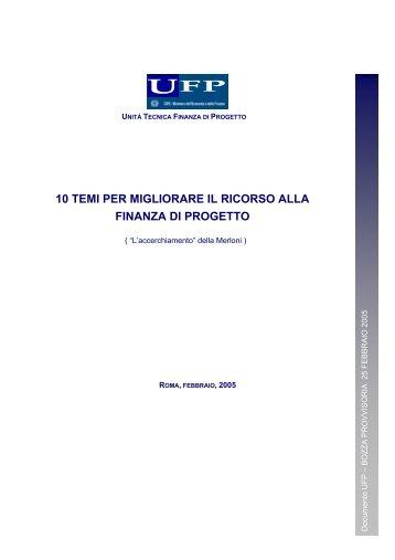 10 temi per migliorare il ricorso alla finanza di progetto - UTFP