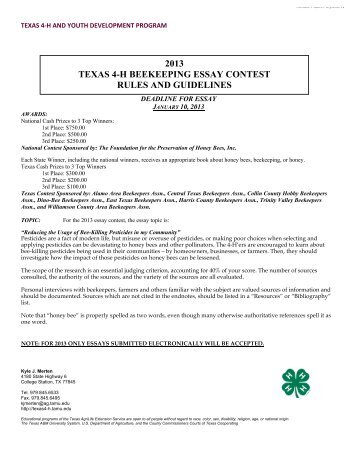 2013 texas 4-h beekeeping essay contest rules and guidelines