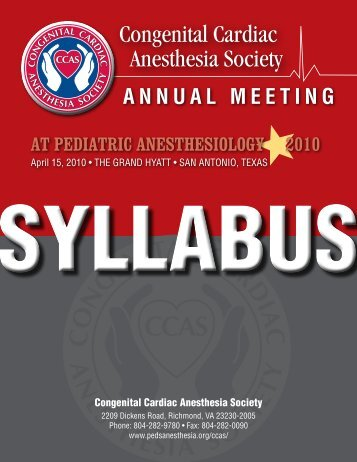 CCAS Syllabus - The Society for Pediatric Anesthesia