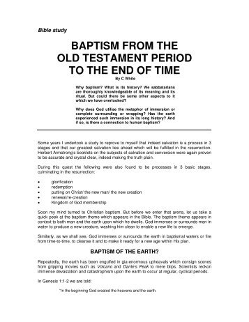 BAPTISM FROM THE OLD TESTAMENT PERIOD ... - Origin of Nations
