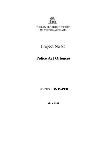 Discussion Paper (May 1989) - Law Reform Commission of Western ...