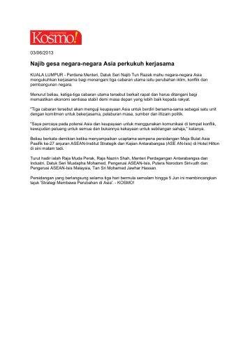 Najib gesa negara-negara Asia perkukuh kerjasama - ISIS Malaysia