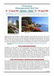 """21. August 2013 """"Schweiz - Italien"""" 25. – 30. August 2013"""