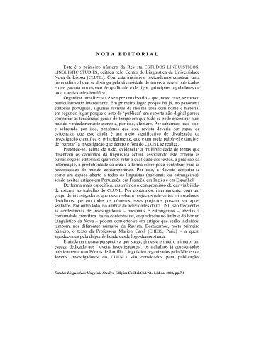 N O T A   E D I T O R I A L - Centro de Linguística da Universidade ...