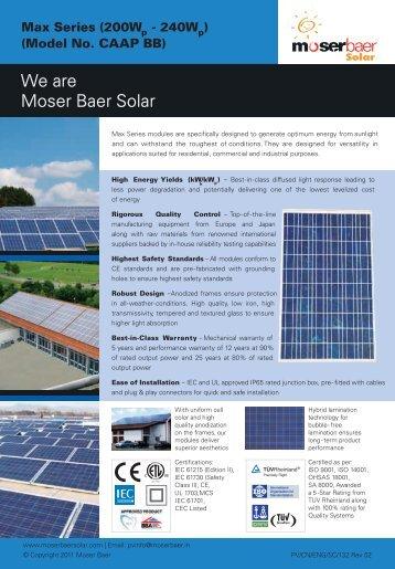 We are Moser Baer Solar - Moser Baer Solar Limited