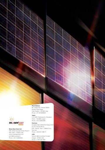 Moser Baer Solar Ltd. 43B, Okhla Industrial Estate Phase III New Delhi