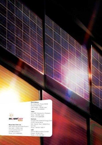 Moser Baer Solar Ltd. 43B, Okhla Industrial Estate Phase III New Delhi
