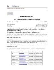 CPSC Recall Pool Drain Covers
