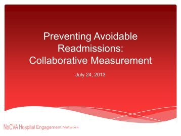 Preventing Avoidable Readmissions: Collaborative Measurement