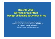 Working group RN02 – Design of floating structures in ice
