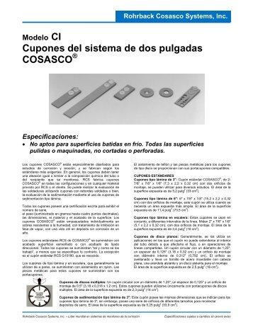 Cupones del sistema de dos pulgadas COSASCO - Rohrback ...