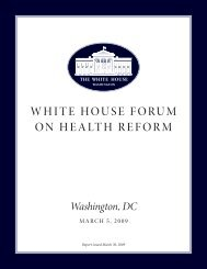 Report of the White House Forum on Health Reform