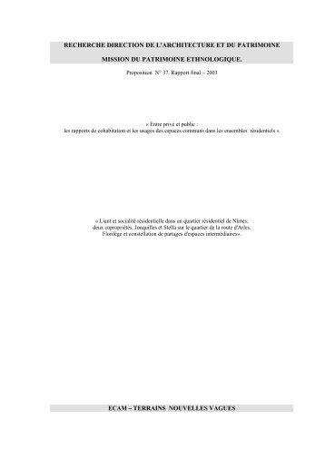 rapport final mission 2003 - Mission Ethnologie