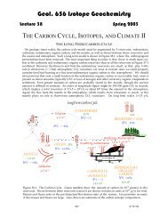The Carbon Cycle, Isotopes, and Clamate II