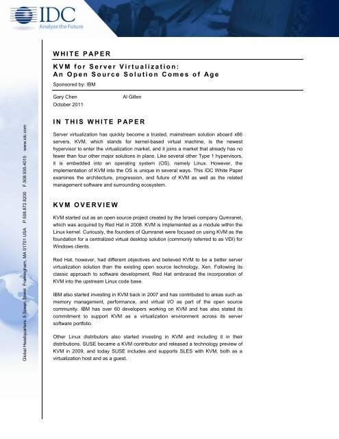 WHITE PAPER KVM for Server Virtualization: An Open Source - IBM