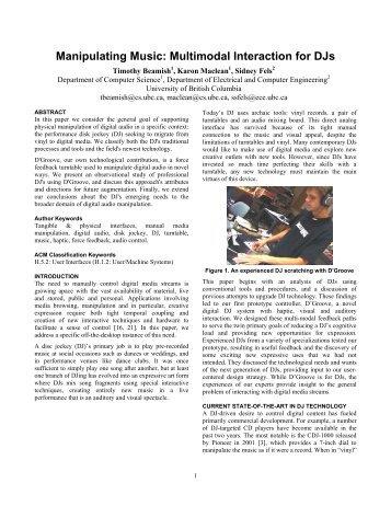 Manipulating Music: Multimodal Interaction for DJs - Science ...
