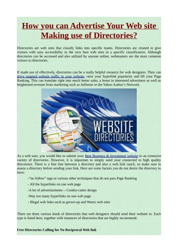 How you can Advertise Your Web site Making use of Directories ?
