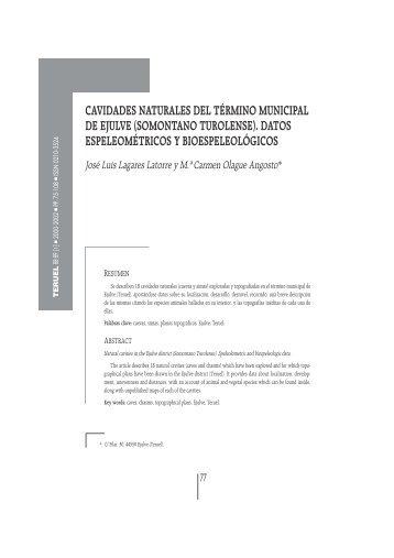 CAVIDADES NATURALES DEL TÉRMINO MUNICIPAL DE EJULVE ...