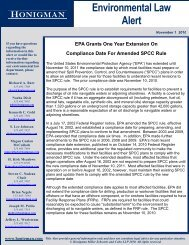 EPA Grants One Year Extension On Compliance Date ... - Honigman