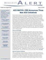 ACO WATCH: CMS Announces Three New ACO ... - Honigman