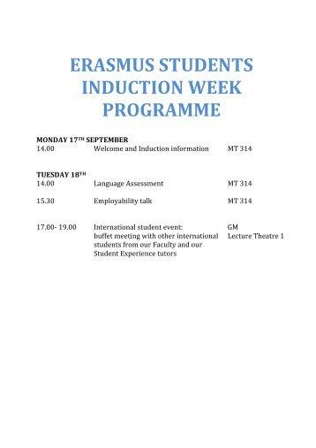 ERASMUS STUDENTS INDUCTION WEEK PROGRAMME