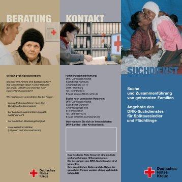 Flyer des DRK-Suchdienstes über die Angebote für