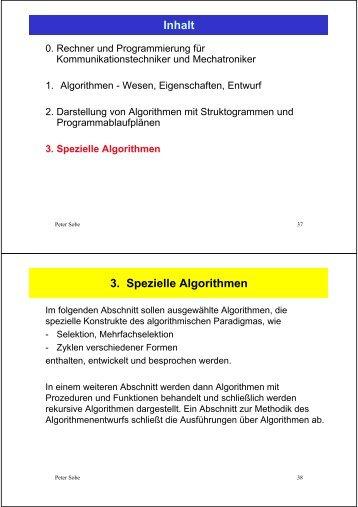 Inhalt 3. Spezielle Algorithmen
