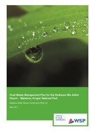 Final Waste Management Plan for the Radisson Blu ... - SANParks