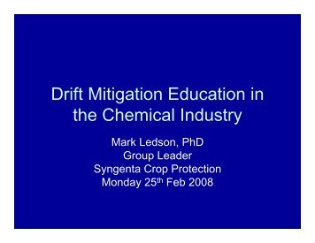 Drift Mitigation Education in the Chemical Industry - The Pesticide ...
