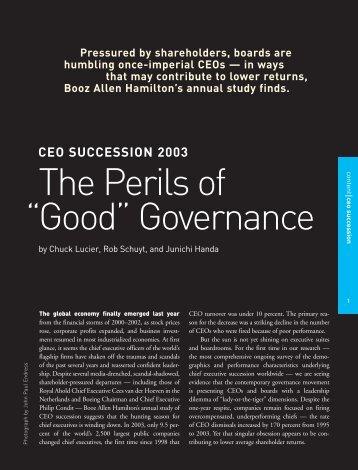 "The Perils of Good"" Governance "" - Booz Allen Hamilton"