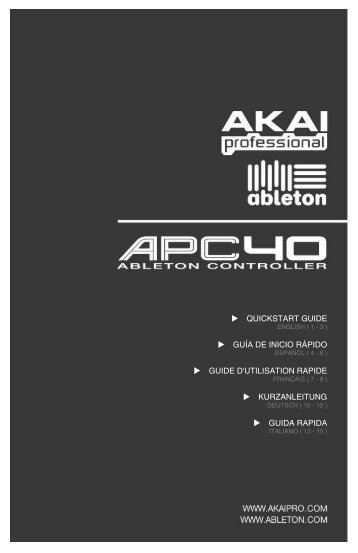 APC40 Quickstart Guide - Florida Music Co Music Technology Store