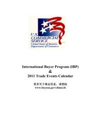 International Buyer Program (IBP) 2011 Trade Events Calendar