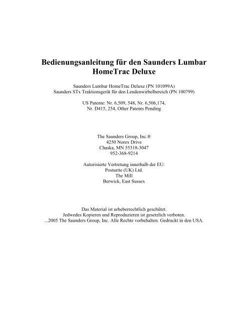 Bedienungsanleitung Fa R Den Saunders Lumbar Hometrac Deluxe