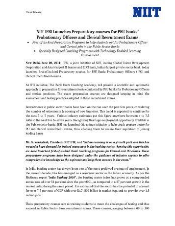 NIIT IFBI Launches Preparatory courses for PSU banks ... - IFBI.com