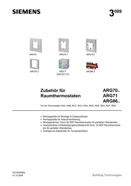 3009 Zubehör für Raumthermostaten ARG70.. ARG71 ARG86..