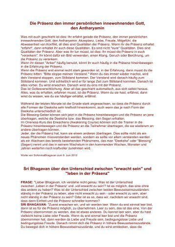 Leben in der Präsenz, der Antaryamin / d e - Oneness Switzerland