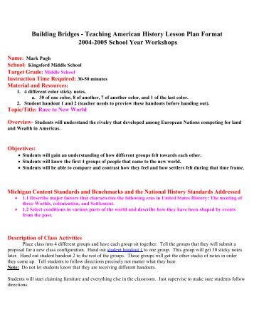 Activities Minutes - History lesson plan template