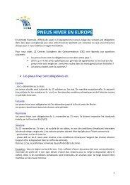 PNEUS HIVER EN EUROPE - Centre Européen de la Consommation