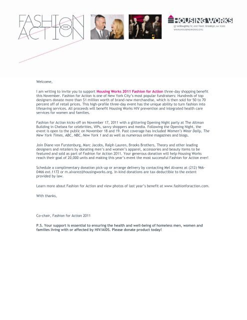 I Am Writing To Invite You To Support Housing Works 2011 Fashion For