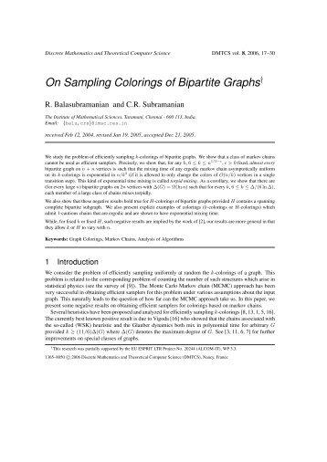 On Sampling Colorings of Bipartite Graphs - Discrete Mathematics ...