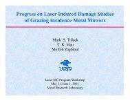 Progress on Laser Induced Damage Studies of Grazing Incidence ...