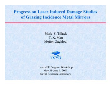 Progress on Laser Induced Damage Studies of Grazing Incidence ...